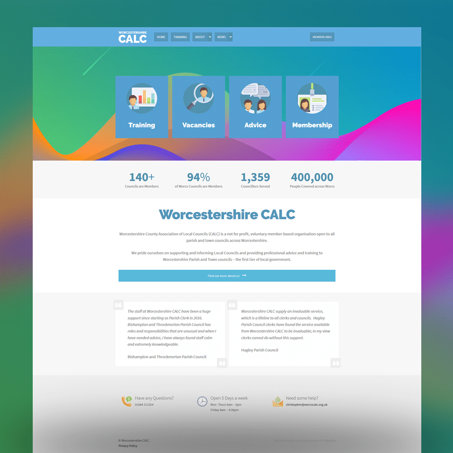 Worcestershire CALC Website Design and Managment Malvern