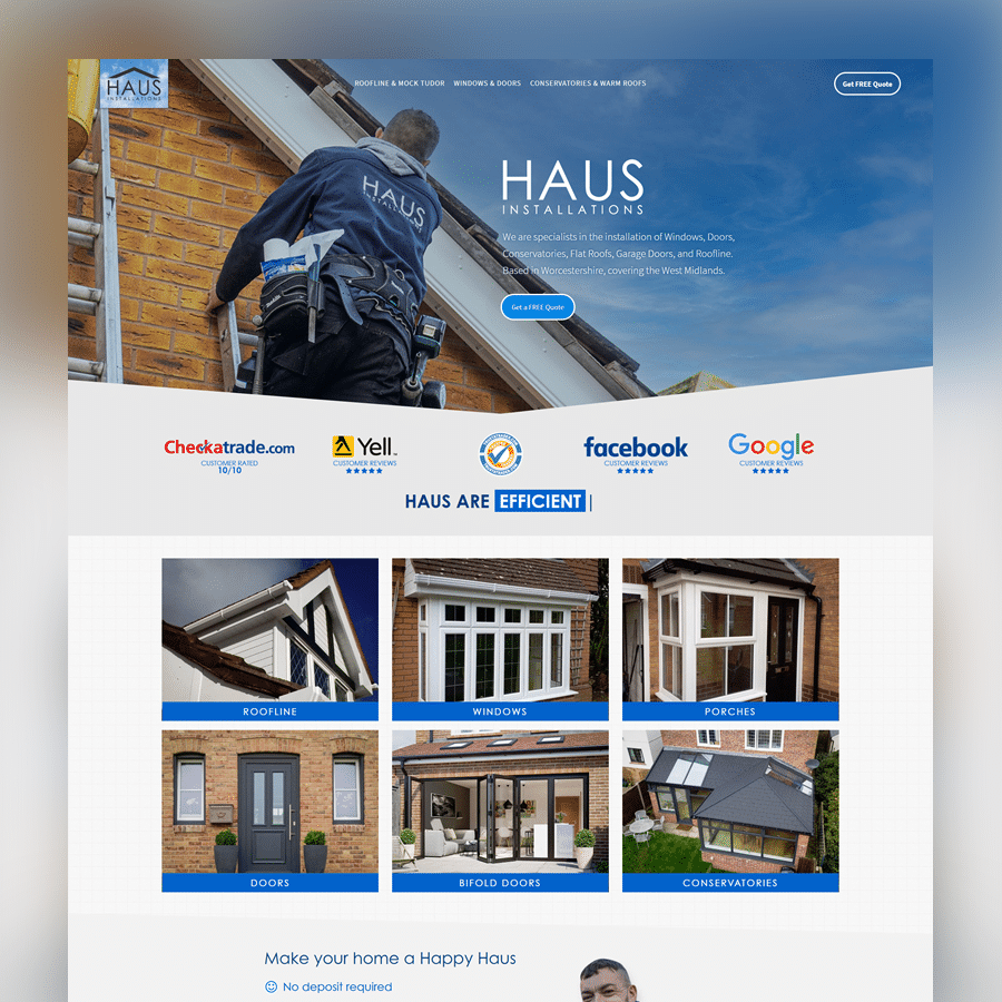 Haus Installations new business website designed and managed by Pixertise, Malvern, Worcestershire.